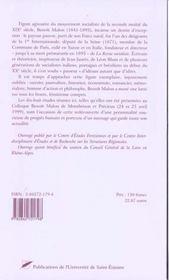 Du Forez A La Revue Socialiste ; Benoit Malon 1841-1893 - 4ème de couverture - Format classique