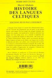 Histoire Des Langues Celtiques - 4ème de couverture - Format classique