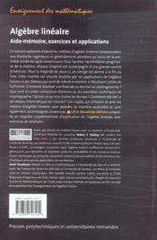Algebre Lineaire ; Aide-Memoire, Exercices Et Applications - 4ème de couverture - Format classique