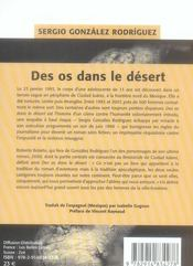 Des os dans le désert - 4ème de couverture - Format classique