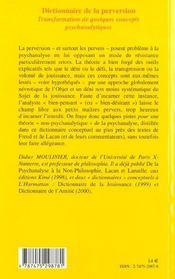 Dictionnaire De La Perversion ; Transformation De Quelques Concepts Psychanalytiques - 4ème de couverture - Format classique