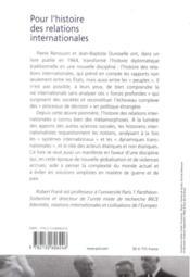 Pour l'histoire des relations internationales - 4ème de couverture - Format classique