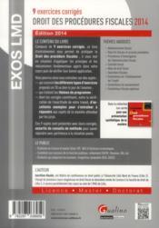 Droit des procédures fiscales (édition 2014) - 4ème de couverture - Format classique
