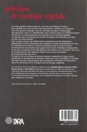 Principe de virologie végétale ; génome, pouvoir pathogène, écologie des virus - 4ème de couverture - Format classique