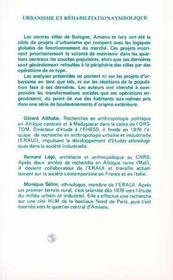 Urbanisme Et Rehabilitation Symbolique ; Ivry, Bologne. Amiens - 4ème de couverture - Format classique
