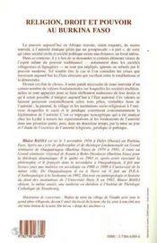 Religion, Droit Et Pouvoir Au Burkina Faso : Les Lyloe Du Burkina Faso - 4ème de couverture - Format classique