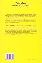 Treize Atouts Pour Reussir Vos Etudes - 4ème de couverture - Format classique