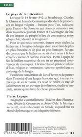 Le pays de la littérature ; des serments de strasbourg à l'enterrement de sartre - 4ème de couverture - Format classique