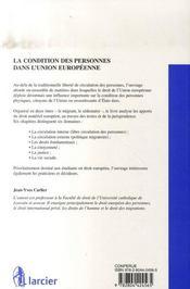 La condition des personnes dans l'union européenne - 4ème de couverture - Format classique