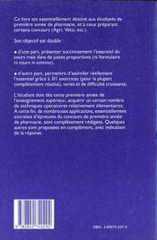 Mathématiques. Cours résumé et exercices résolus, 1re année de pharmacie, prépàarations aux écoles biologiques agri. véto. - 4ème de couverture - Format classique
