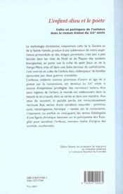 L'enfant-dieu et le poete : culte et poetiques de l'enfant dans le roman italien - 4ème de couverture - Format classique