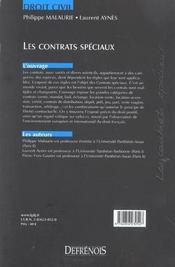 Droit Civil Les Contrats Speciaux - 4ème de couverture - Format classique