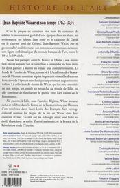 Jean-baptiste wicar et son temps 1762-1834 - 4ème de couverture - Format classique