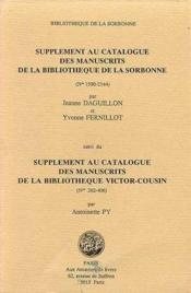 Supplement au catalogue des manuscrits d - Couverture - Format classique