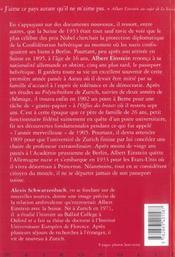 Le genie dedaigne ; albert einstein et la suisse - 4ème de couverture - Format classique