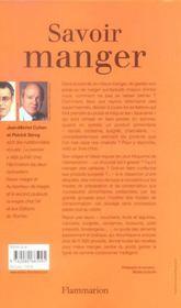 Savoir Manger. Le Guide Des Aliments - 4ème de couverture - Format classique