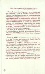 Urbanisation Et Enjeux Quotidiens ; Terrains Ethnologiques Dans La France Actuelle - 4ème de couverture - Format classique