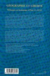 Géographie et liberté ; mélanges en hommage à Paul Claval - 4ème de couverture - Format classique
