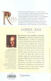 Louis XIII ; 1610-1643 ; père de Louis XIV - 4ème de couverture - Format classique