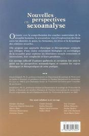 Nouvelles perspectives en sexoanalyse - 4ème de couverture - Format classique