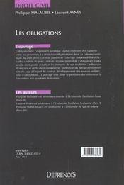 Droit Civil Les Obligations - 4ème de couverture - Format classique