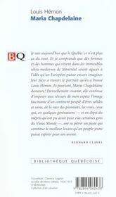 Maria Chapdelaine - 4ème de couverture - Format classique