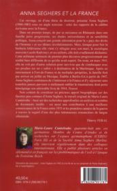 Anna Seghers et la France - 4ème de couverture - Format classique