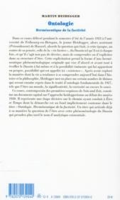 Ontologie ; hermeneutique de la factivité - 4ème de couverture - Format classique