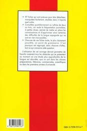Fiches De Grammaire Espagnole - 4ème de couverture - Format classique