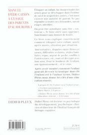 Manuel D'Education A L'Usage Des Parents D'Aujourd'Hui - 4ème de couverture - Format classique