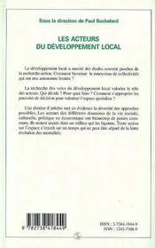 Les acteurs du développement local - 4ème de couverture - Format classique