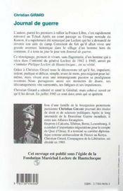 Journal De Guerre 1939-1945 ; Temoignage - 4ème de couverture - Format classique