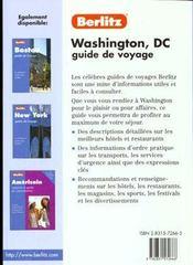 Washington - 4ème de couverture - Format classique