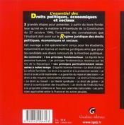 Essentiel Des Droits Politiques, Economiques Et Sociaux - 4ème de couverture - Format classique