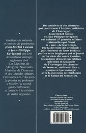 Les grandes affaires criminelles d'Auvergne - 4ème de couverture - Format classique