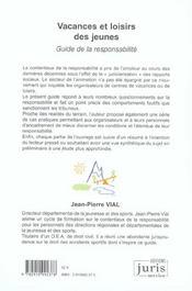 Vacances Et Loisirs Des Jeunes. Guide De La Responsabilite - 1ere Ed. - 4ème de couverture - Format classique