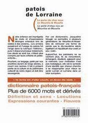 Patois De Lorraine - Le Parler De Chez Nous En Meurthe Et Moselle - 4ème de couverture - Format classique
