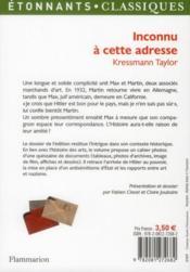 Inconnu A Cette Adresse - 4ème de couverture - Format classique