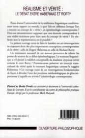 Réalisme et vérité : le débat entre Habermas et Rorty - 4ème de couverture - Format classique