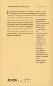 La Nouvelle Revue Francaise N.602 ; Fantômes - 4ème de couverture - Format classique