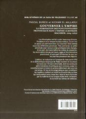 Gouverner L Empire. La Nomination Des Fonctionnaires Provinciaux Dans L'Empire Almohade (Maghreb 122 - 4ème de couverture - Format classique