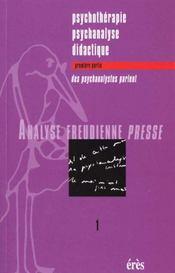 Afp 01 - Psychotherapie Psychanalyse Didactique 1 - Intérieur - Format classique