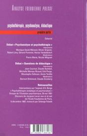 Afp 01 - Psychotherapie Psychanalyse Didactique 1 - 4ème de couverture - Format classique