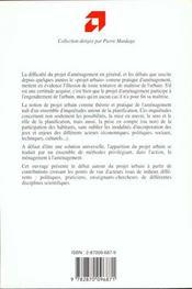 Projet Urbain : Menager Les Gens, Amenager La Ville - 4ème de couverture - Format classique