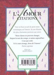 L'amour : citations - 4ème de couverture - Format classique