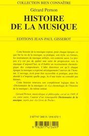 Histoire De La Musique - 4ème de couverture - Format classique