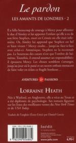 Les amants de Londres t.2 ; le pardon - 4ème de couverture - Format classique