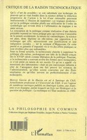 Critique De La Raison Technocratique - 4ème de couverture - Format classique