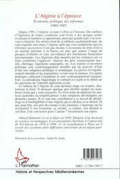 Algerie A L'Epreuve (L') Economie Politique Des Refo - 4ème de couverture - Format classique