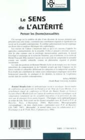 Le Sens De L'Alterite ; Penser Les Homosexualites - 4ème de couverture - Format classique
